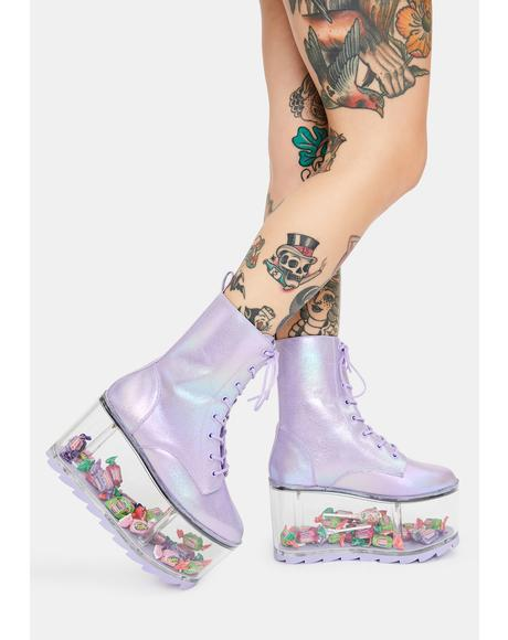Qloud Ultra Metallic Purple Platform Boots