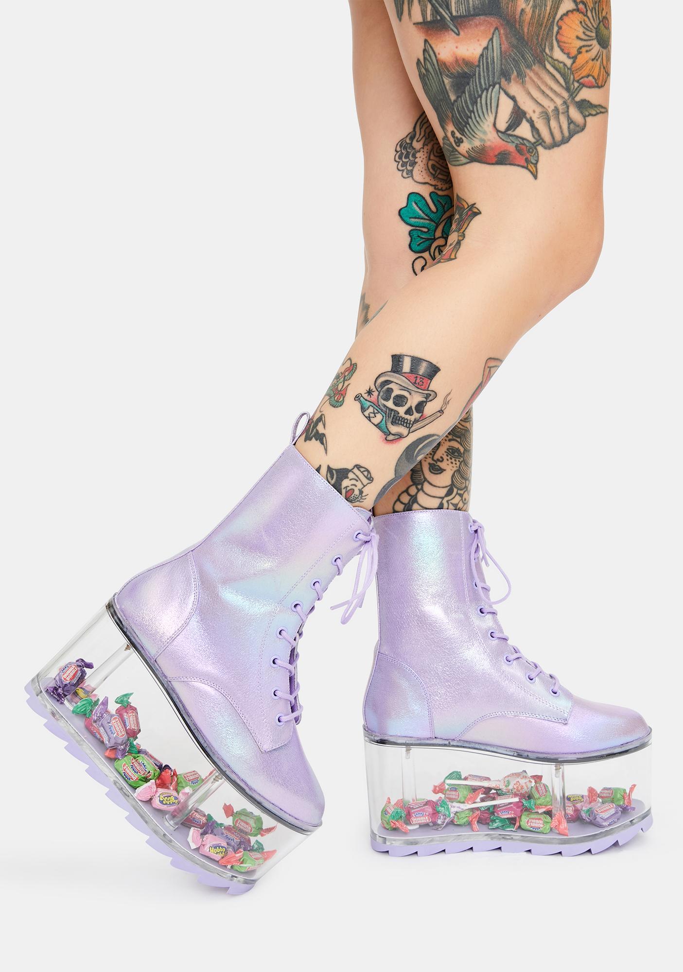 Y.R.U. Qloud Ultra Metallic Purple Platform Boots