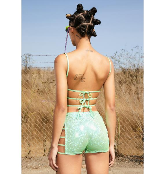 Club Exx Neon Soul Strappy Cut-Out Shorts