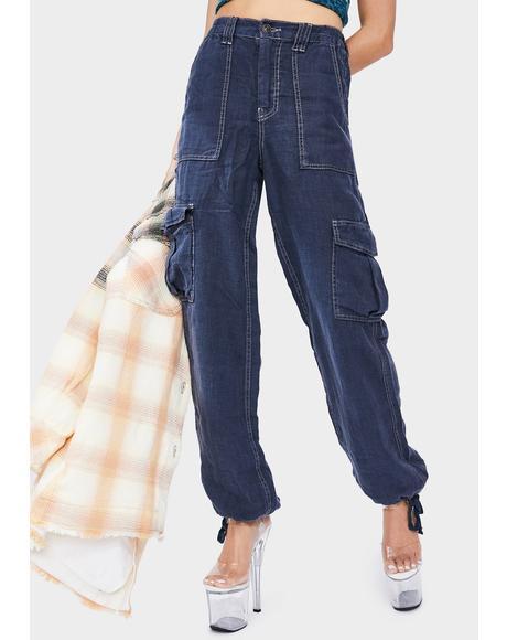 Dark Blue Linen Skate Trouser Pants