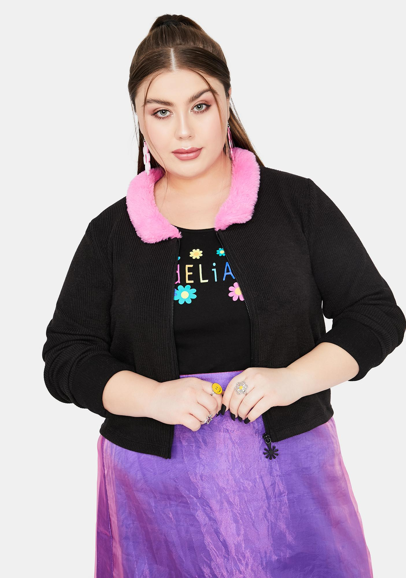 dELiA*s by Dolls Kill Luxe Caught On Camera Zip-Up Sweater