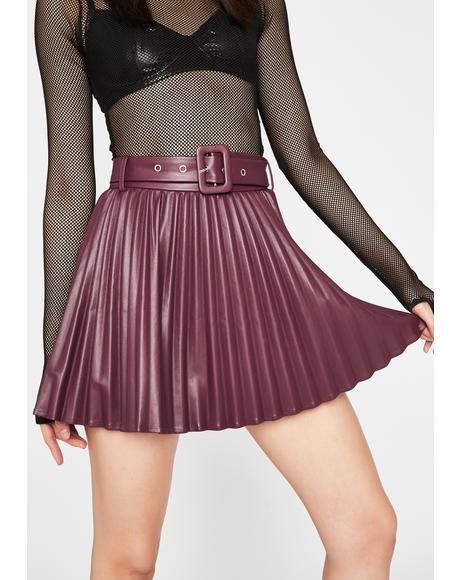 Wine Creating Doubt Pleated Skirt