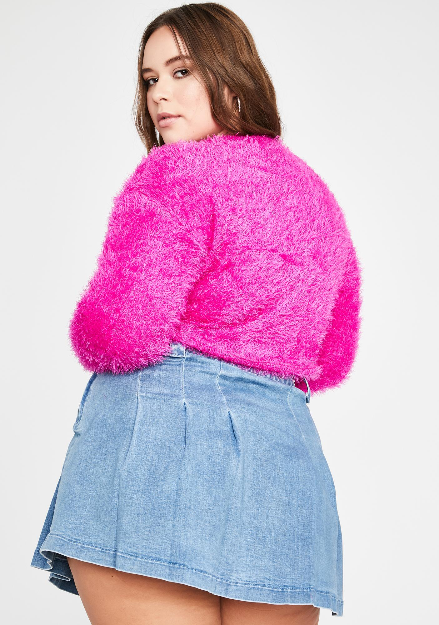 Fuchsia Don't Get It Twisted Crop Sweater