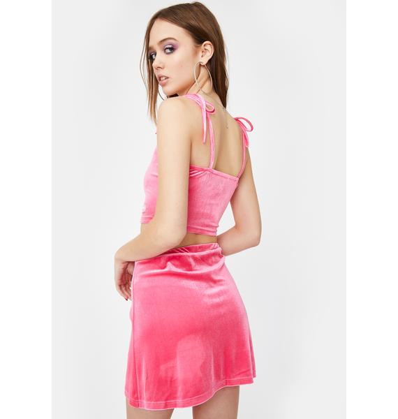 ZEMETA Hot Pink Velvet Skirt Set