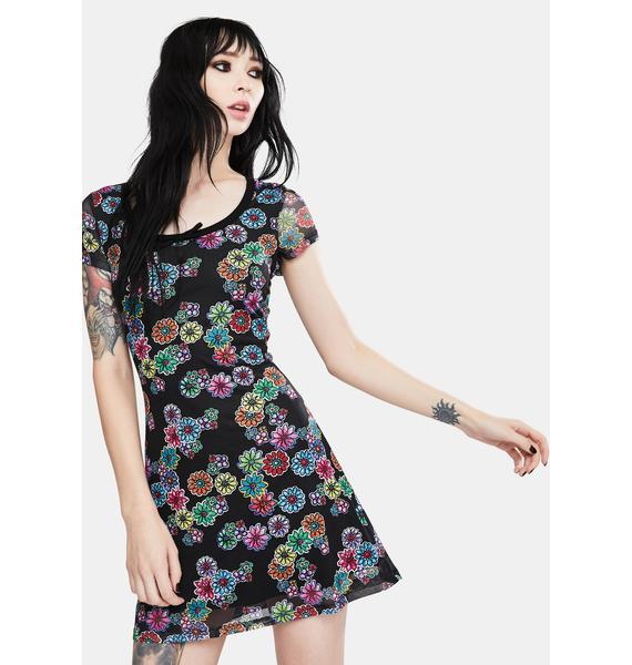 Jawbreaker Floral Rainbow Knit Mini Dress