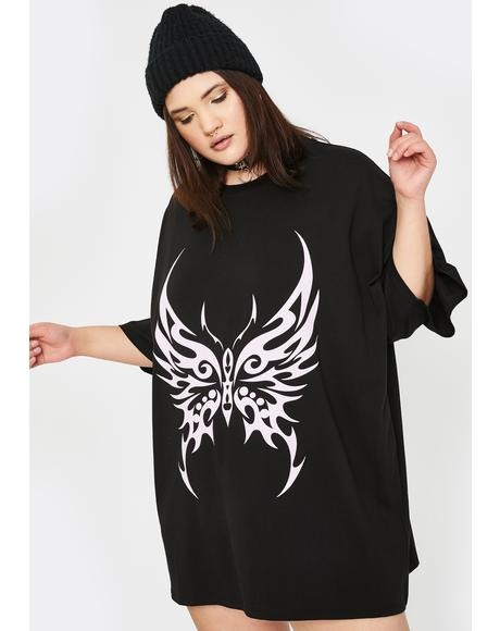Plus Pink Tattoo Butterfly T-Shirt Dress
