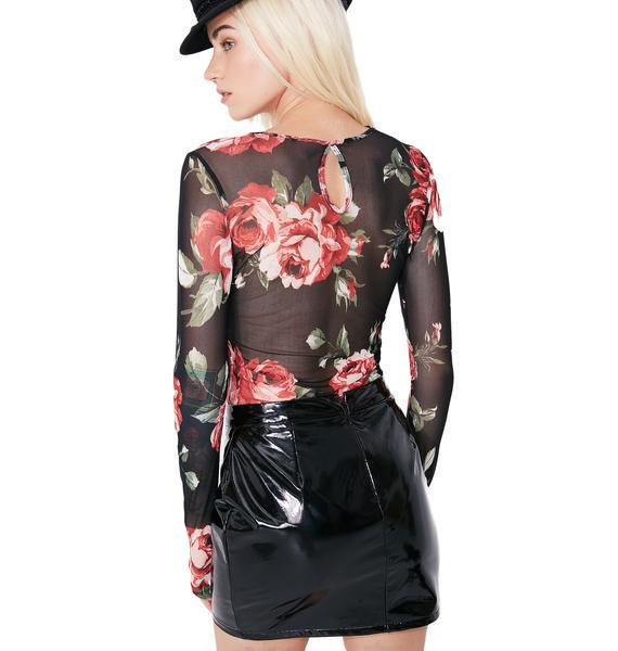 Midnight Feelin' Rosy Sheer Floral Bodysuit