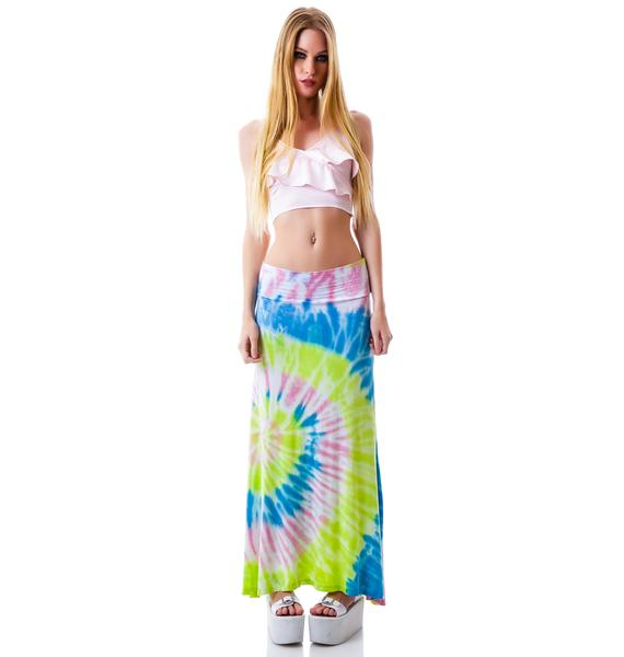 Peace, Love and Tie Dye Maxi Skirt