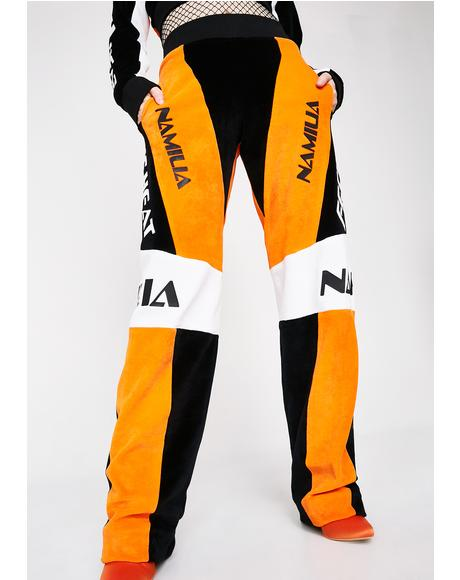 Orange Velour Motocross Trousers