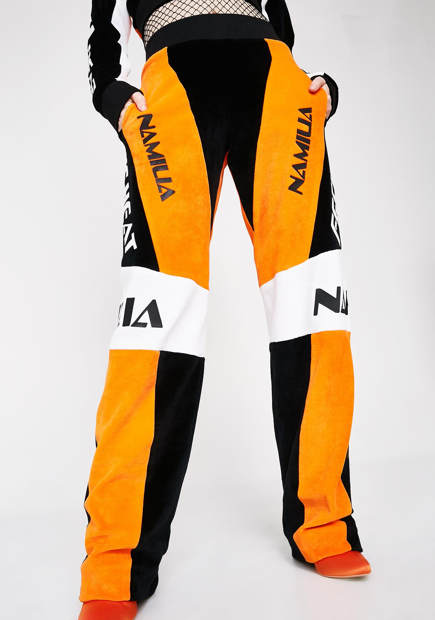 Namilia Orange Velour Motocross Trousers