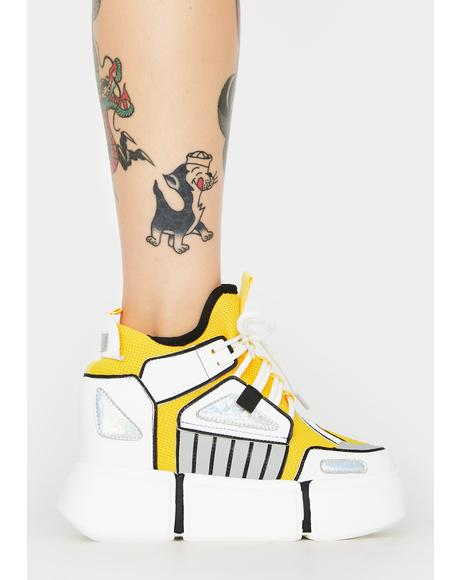 White Cranberry Platform Sneakers