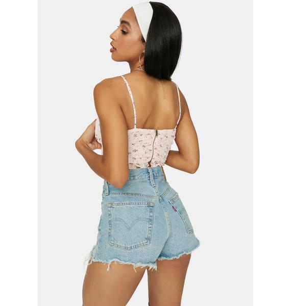 Petal Now Forever Floral Ruched Crop Top