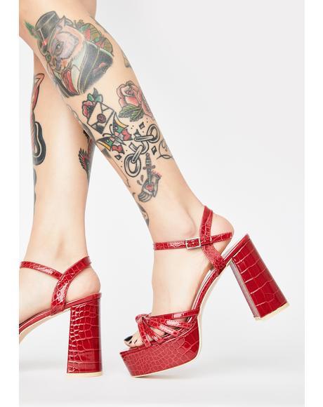 Red Nadia Platform Heels