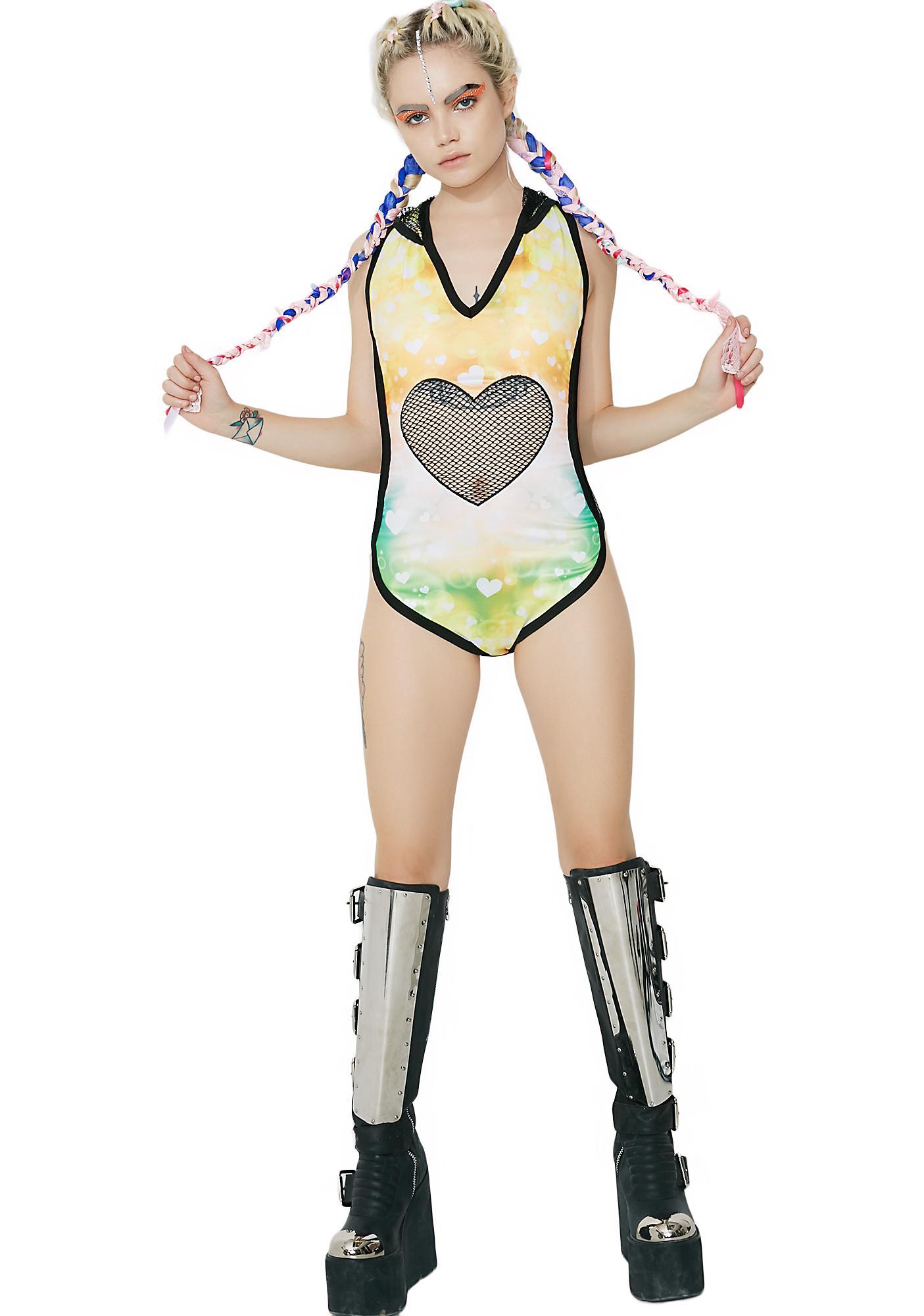 Rave Romance Hooded Bodysuit