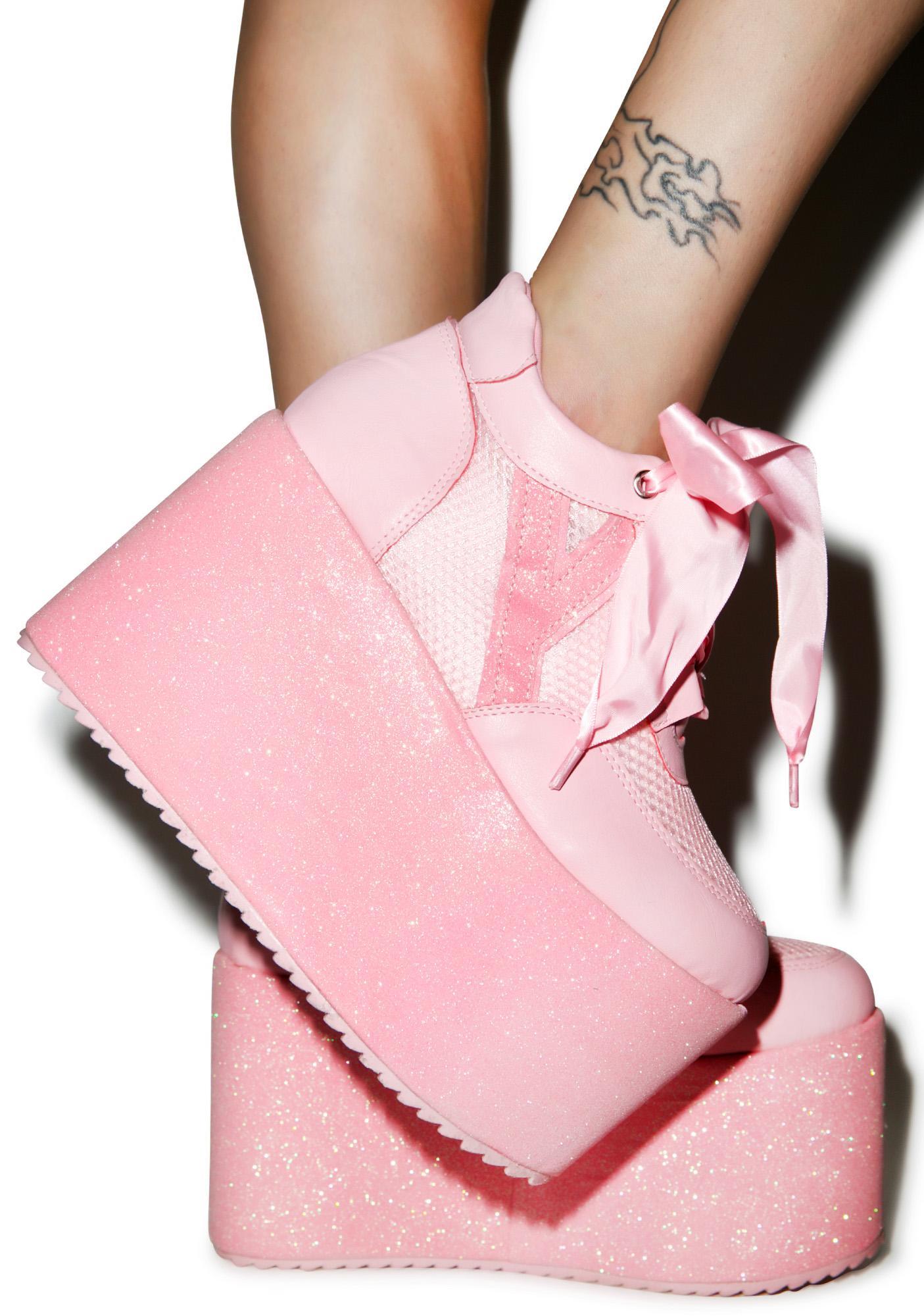 Y.R.U. Qozmo Lo Glitter Platforms | Dolls Kill
