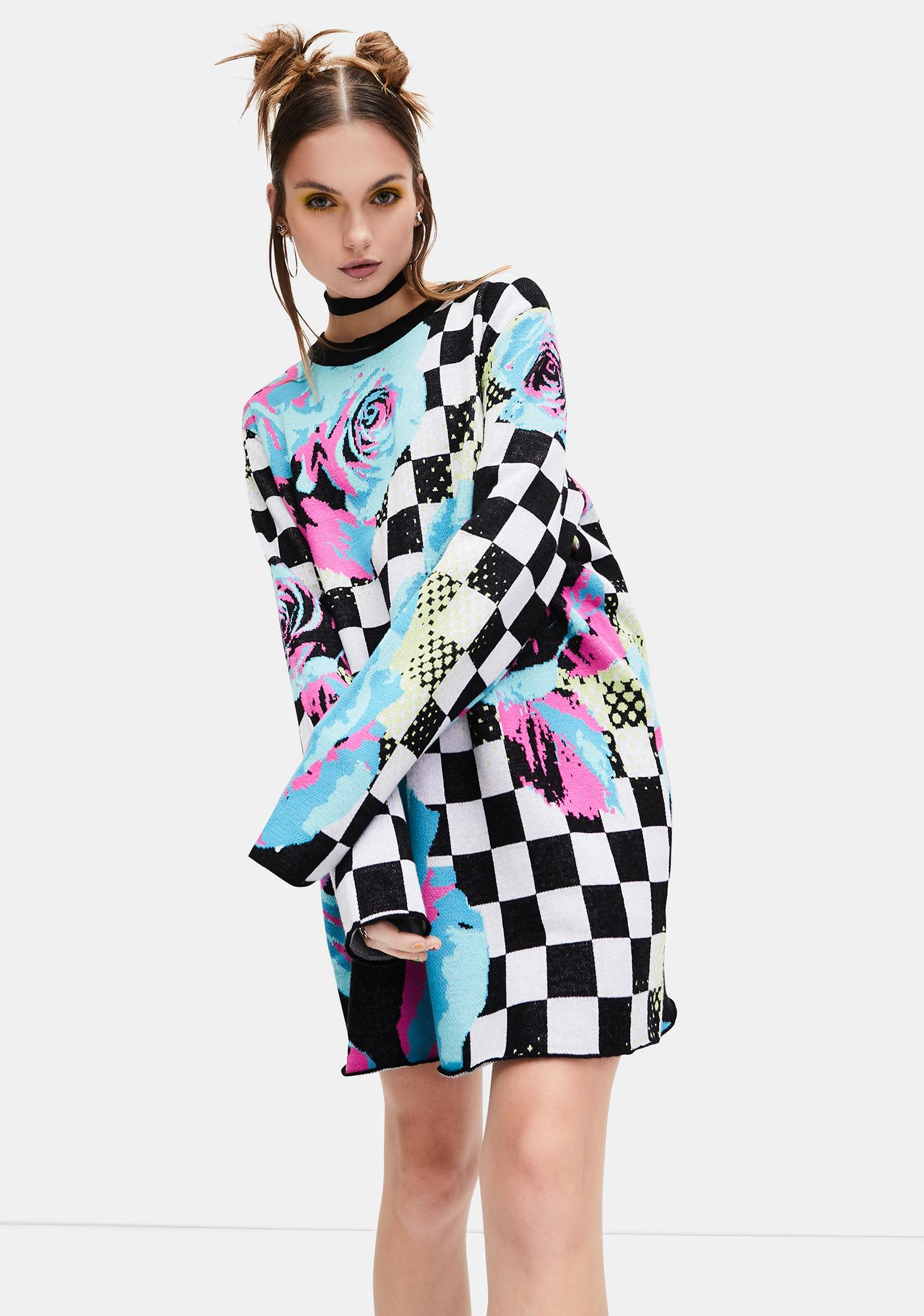 dELiA*s by Dolls Kill Dream Drifting Checkered Floral Sweater