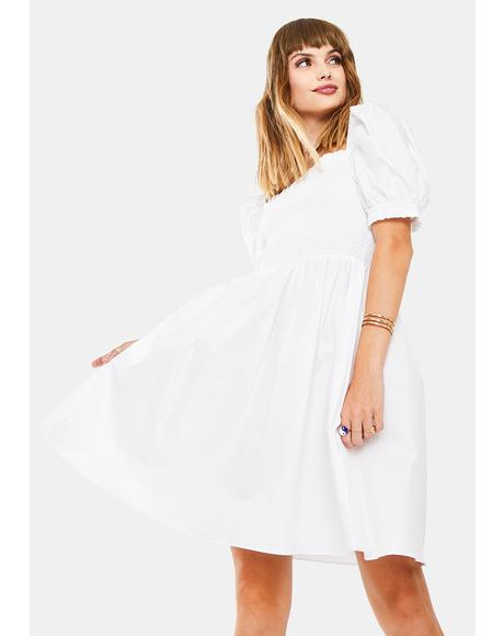 White Puff Sleeve Babydoll Dress