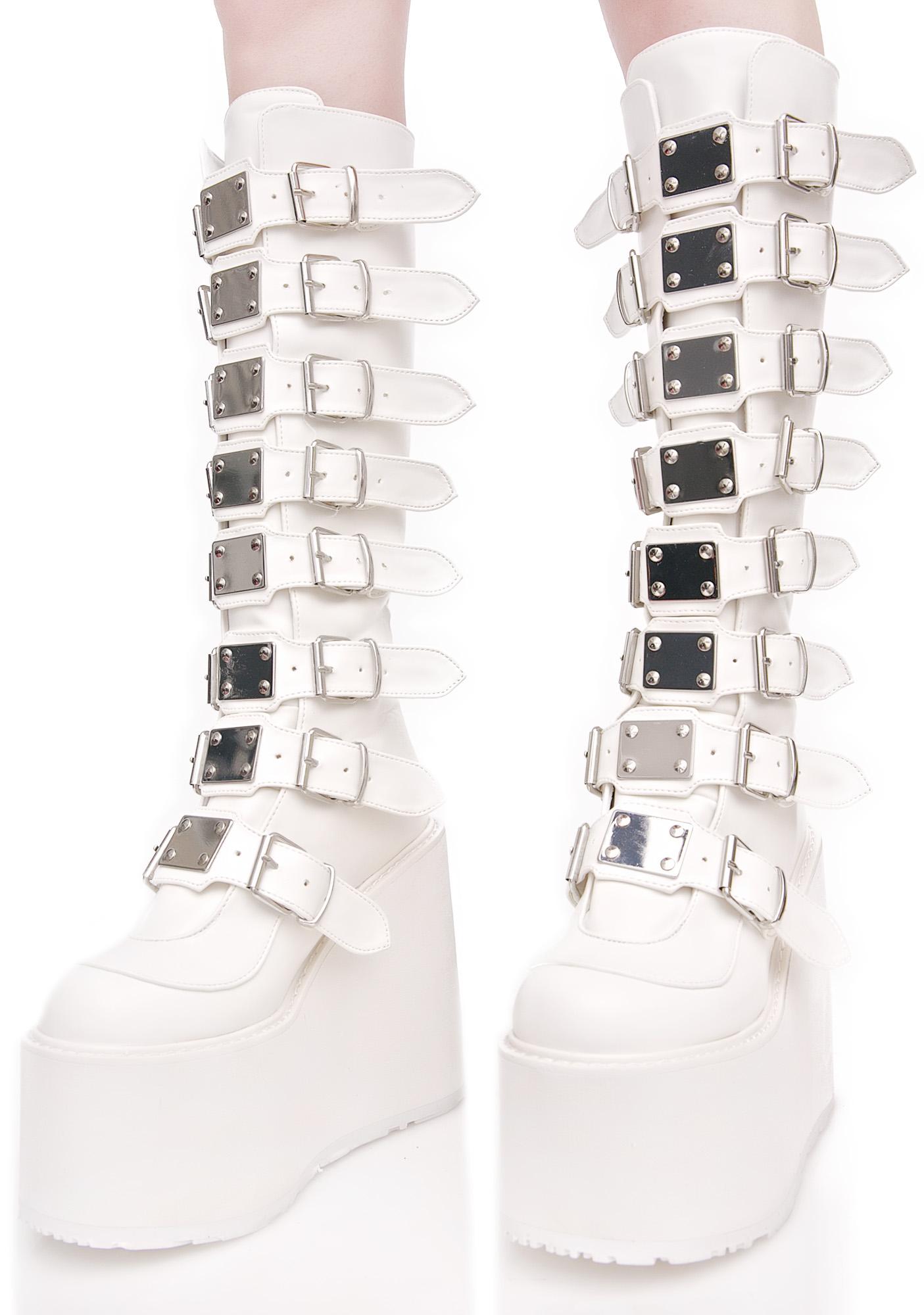Demonia White Trinity Boots