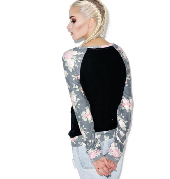 Wildfox Couture Black Rose Sleeves Baggy Beach Raglan