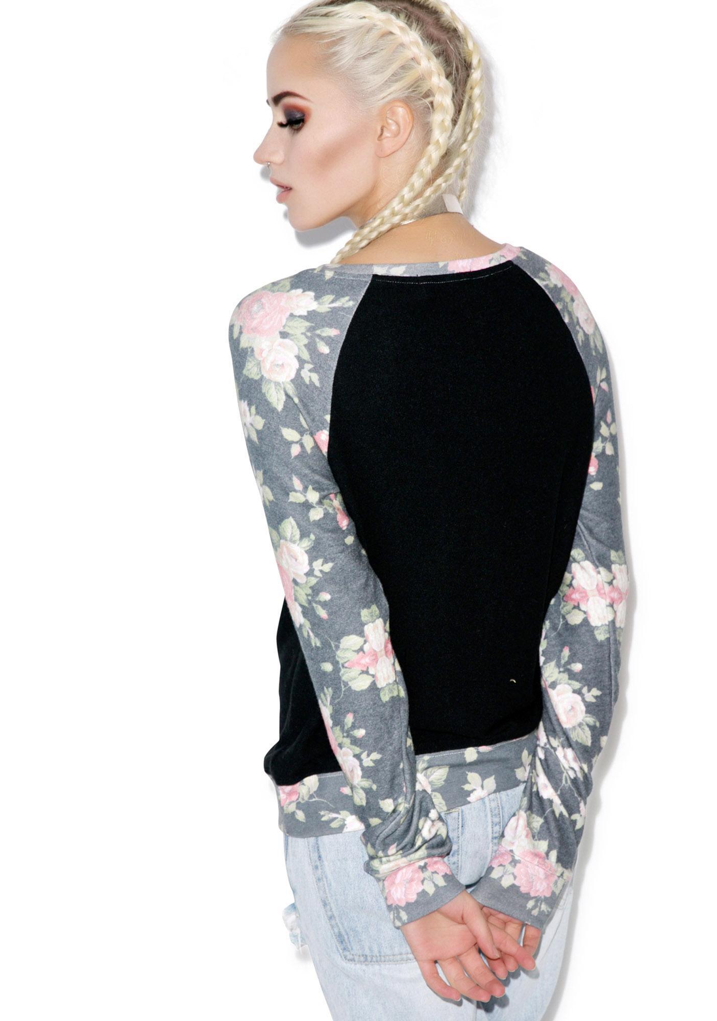 Wildfox Couture Black Rose Sleeves Baggy Beach Raglan