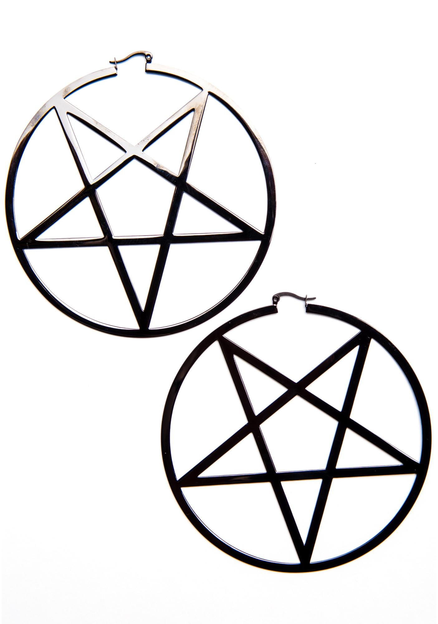 Killstar Pentagram Hoop Earrings