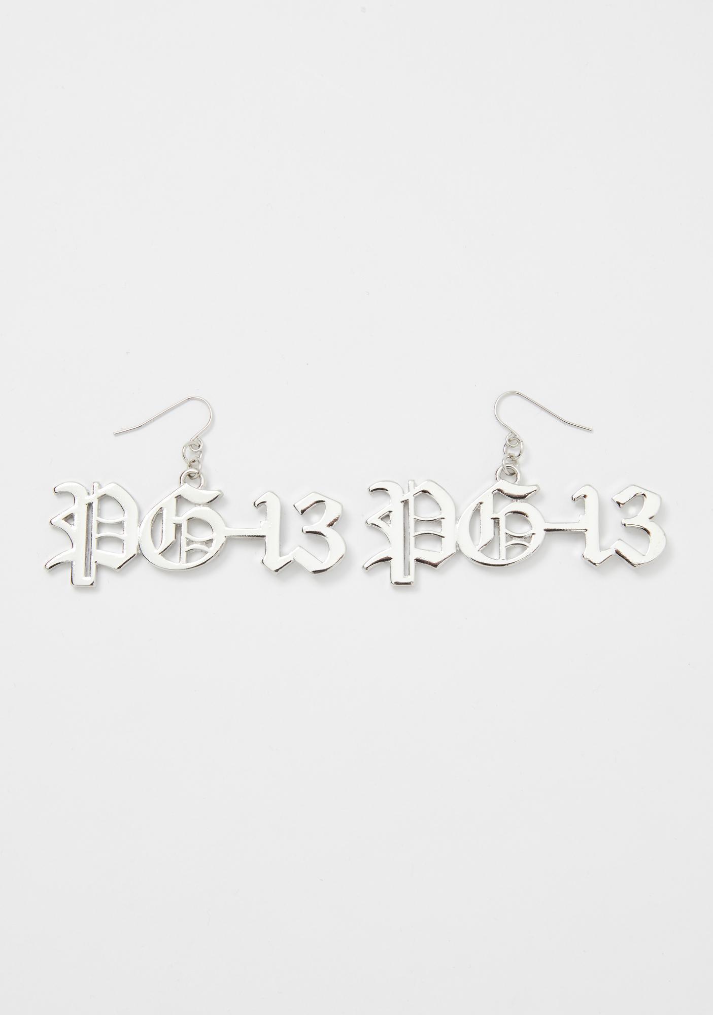 Warning PG-13 Drop Earrings