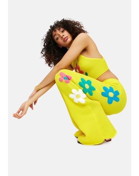 Summer Bummer Babe Daisy Crochet Pants