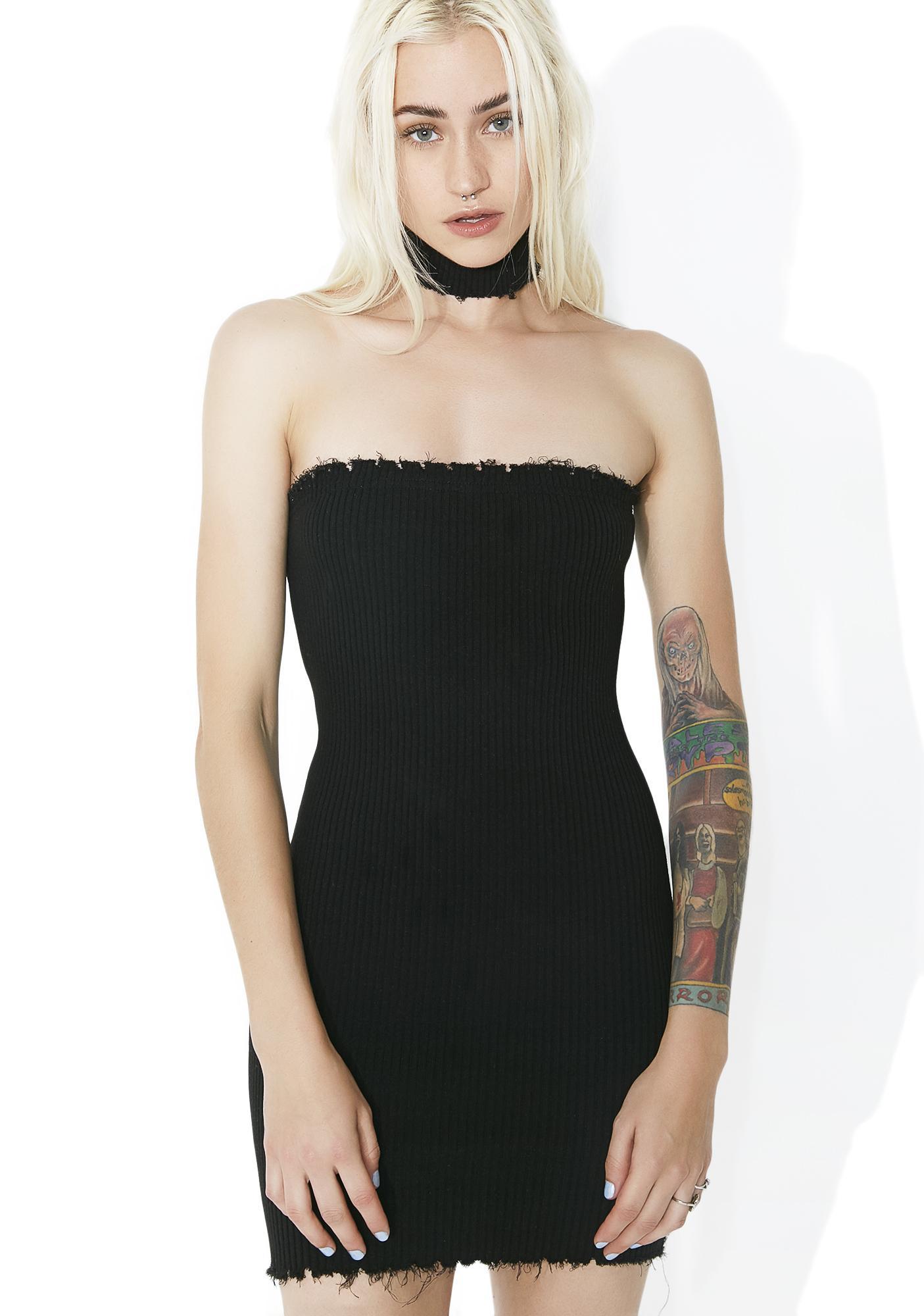 Fashion style Black little tube dress for lady