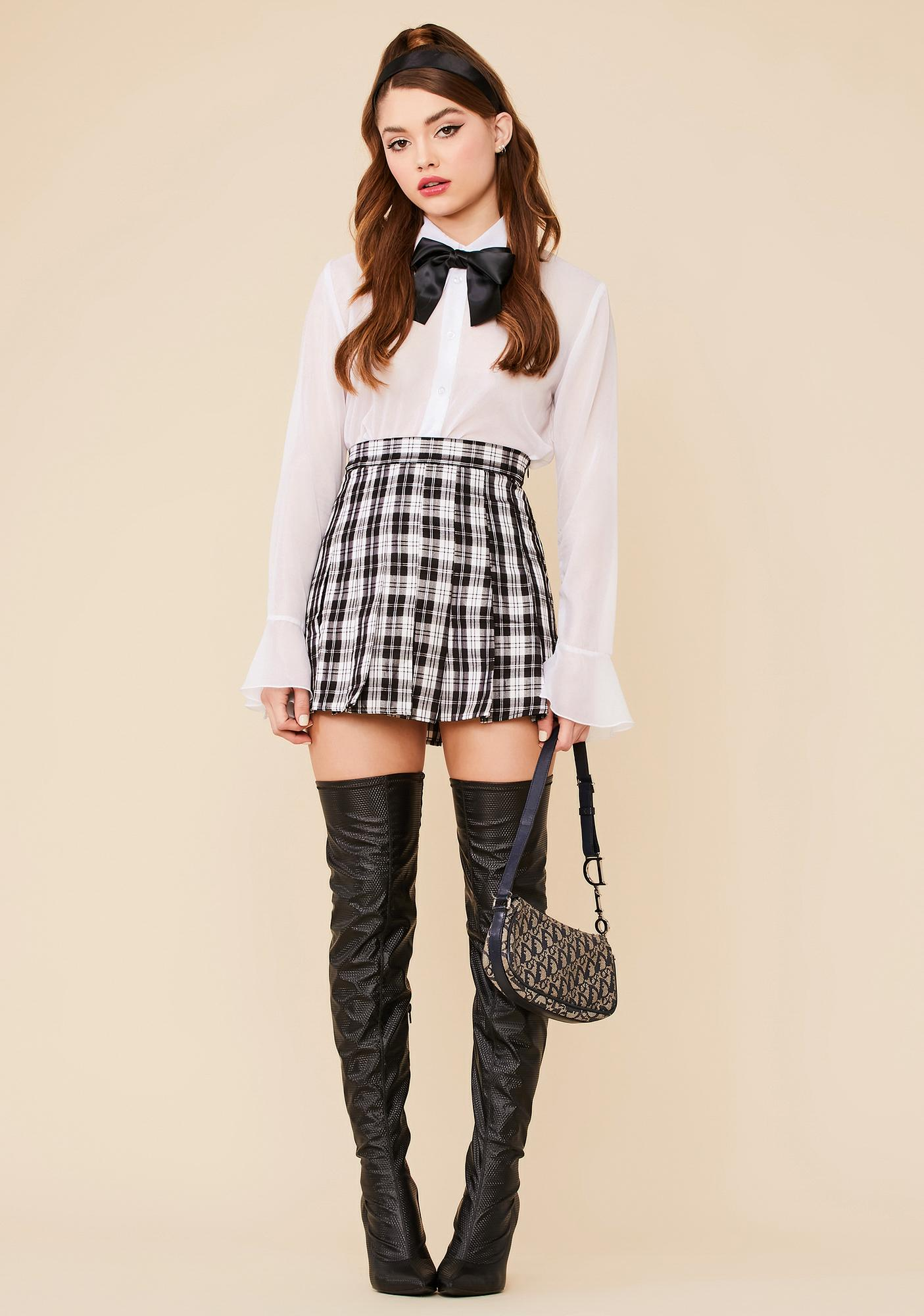 Wicked Rock Your World Plaid Pleated Skirt