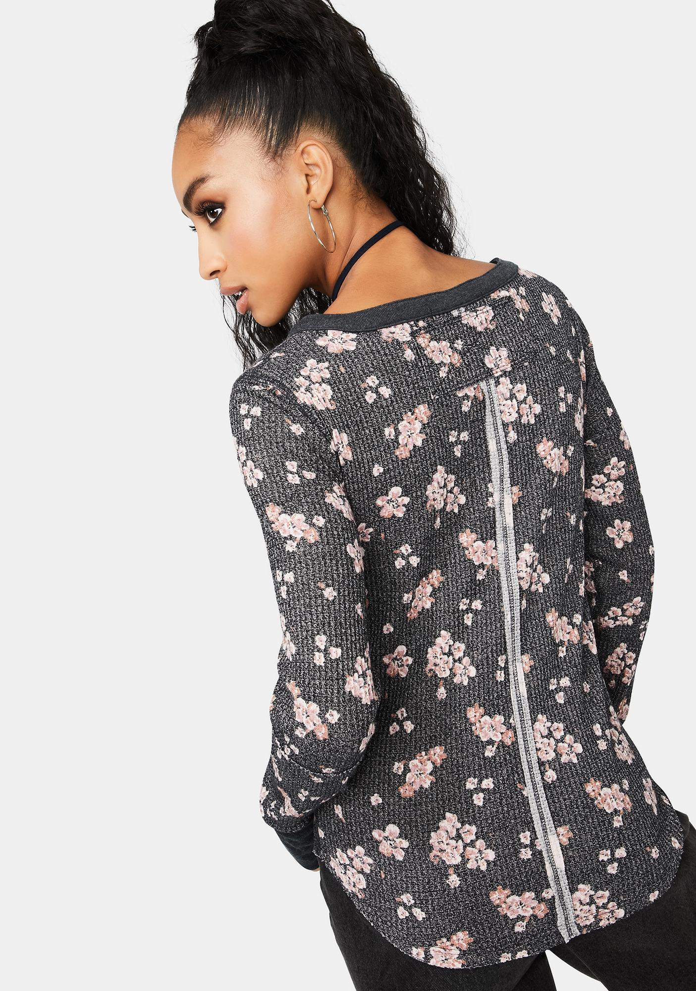Free People Everest Floral Print Henley Top