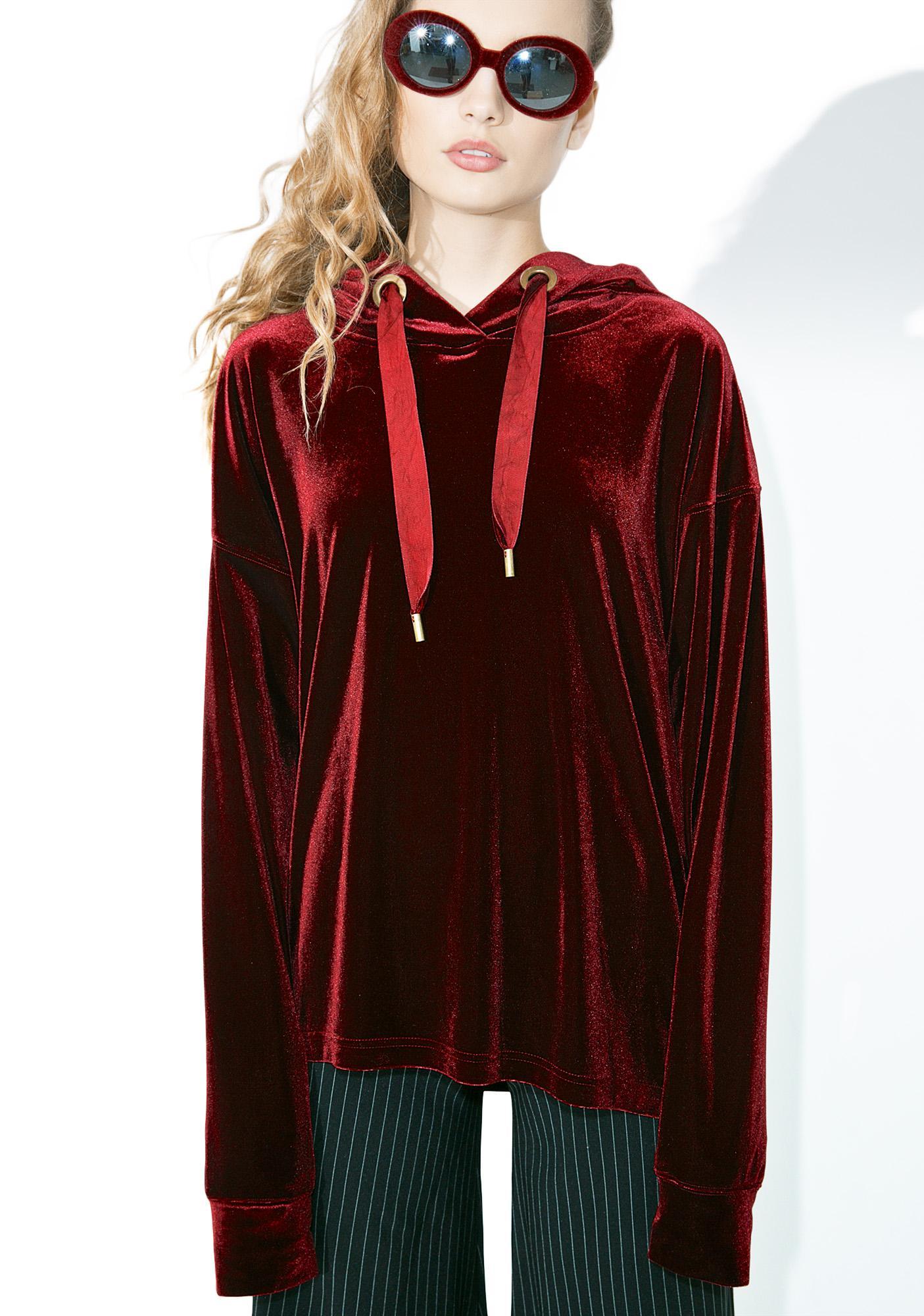 Crimson Claw Velvet Hoodie