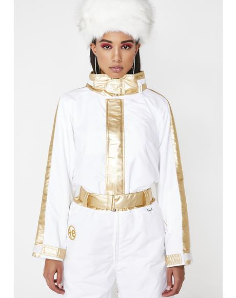 White And Gold Ski Suit