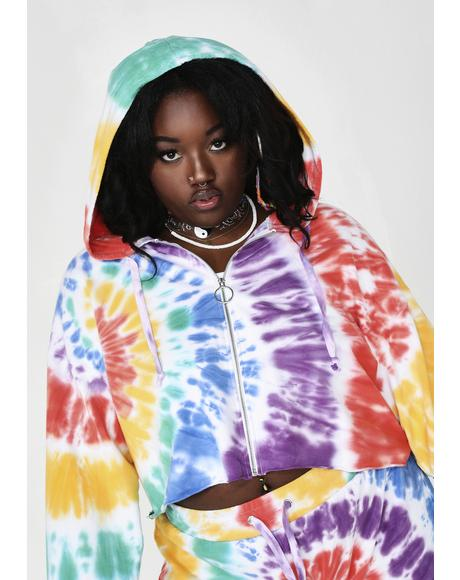 Hippie Trippy Delight Crop Hoodie