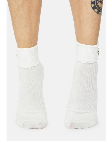 Flying Heart Wings Ribbed Crew Socks