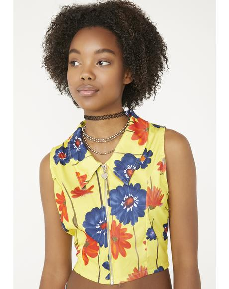 Vintage 90s Yellow Floral Top