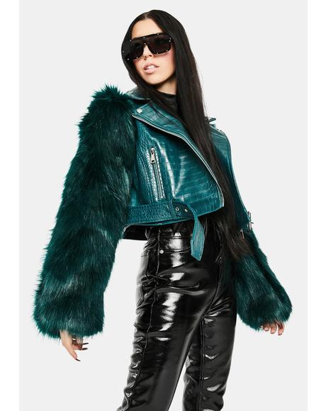 Green Nolla Faux Fur Croc Moto Jacket
