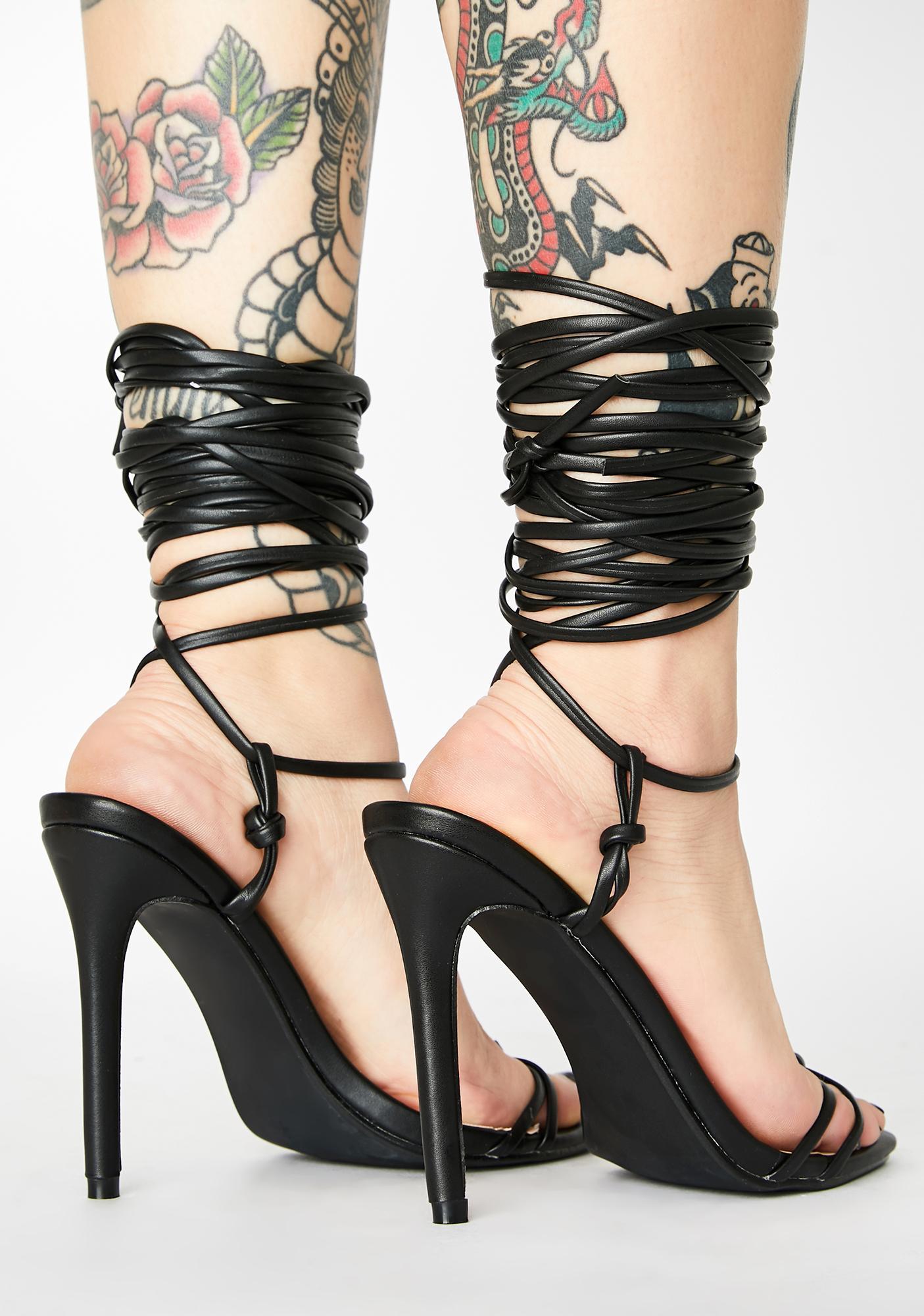 Public Desire Black Sincere Lace Up Heels