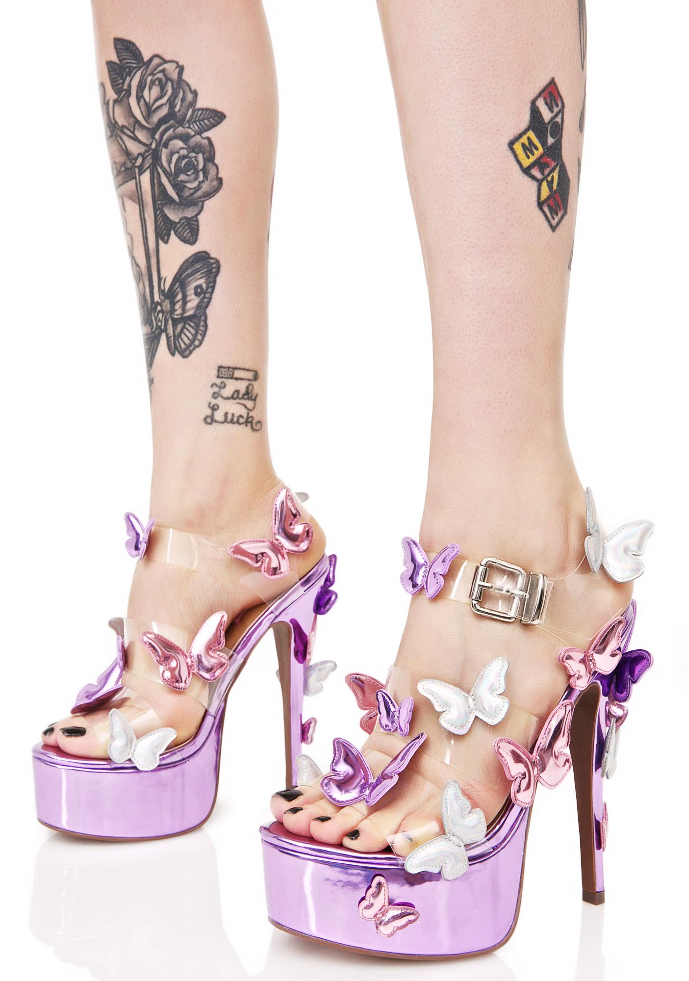 Purple Metallic Garden Flower Heels
