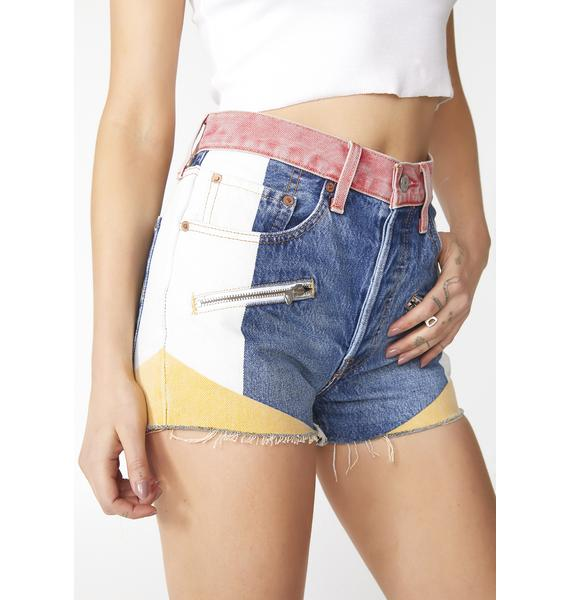 Levis Colorblocked 501 High Rise Shorts