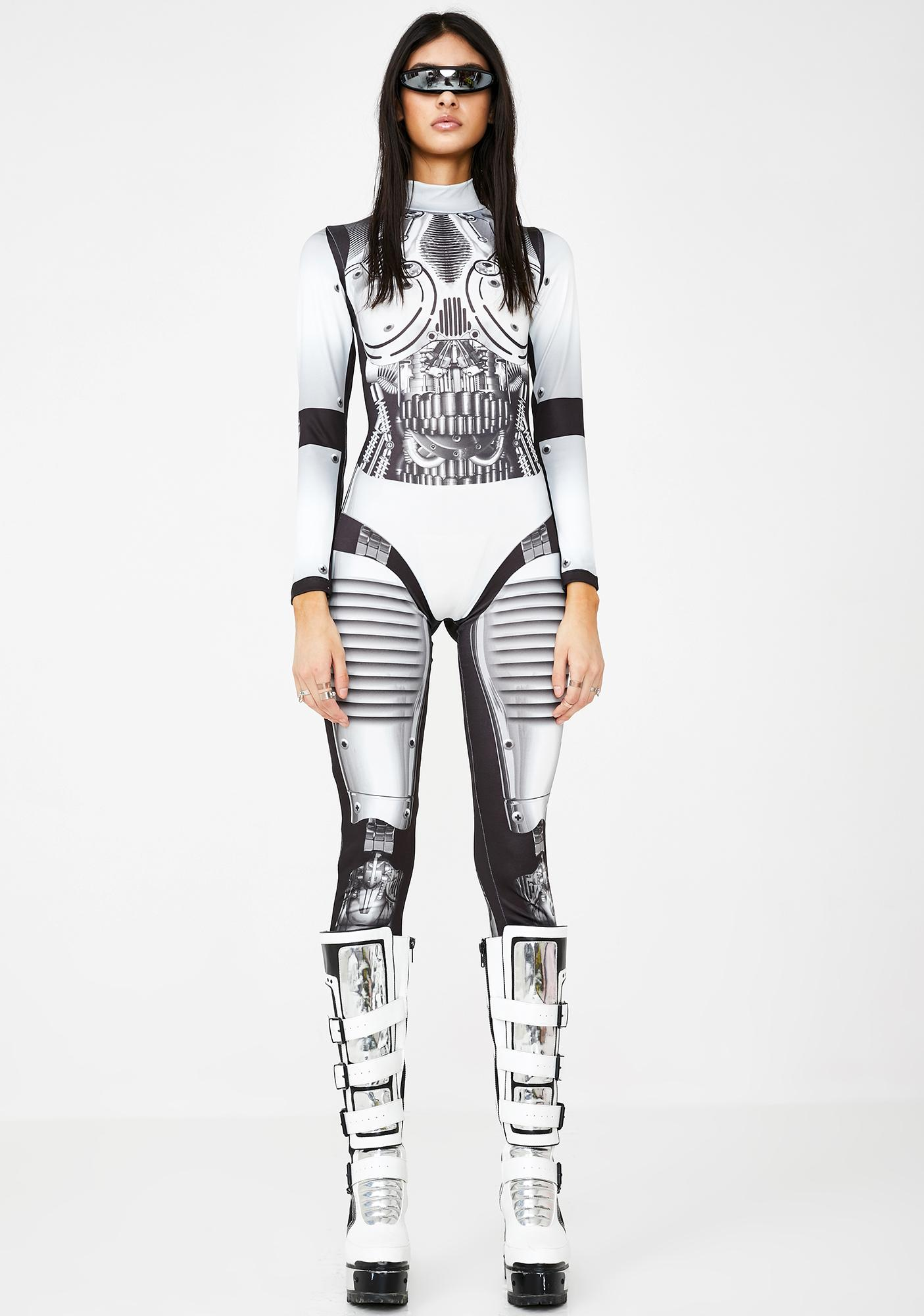 Jaded London Robot Print Long Sleeve Catsuit