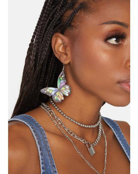 Pretty Prism Butterfly Earrings