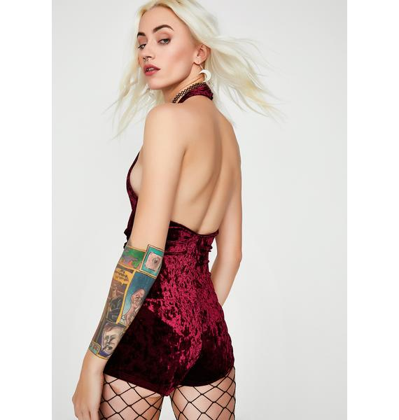 Wine Get It On Velvet Romper
