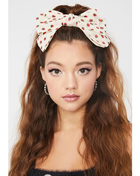 Cream Fruity Mania Bow Hair Clip