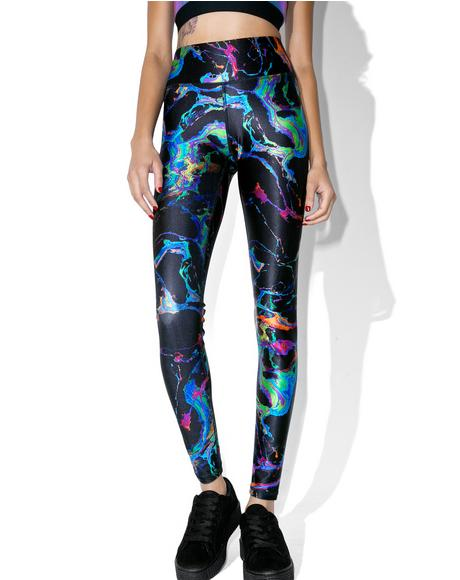 Black Oil Spill Leggings