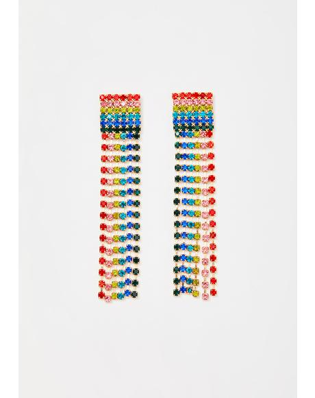 Prismatic Delirium Rhinestone Earrings
