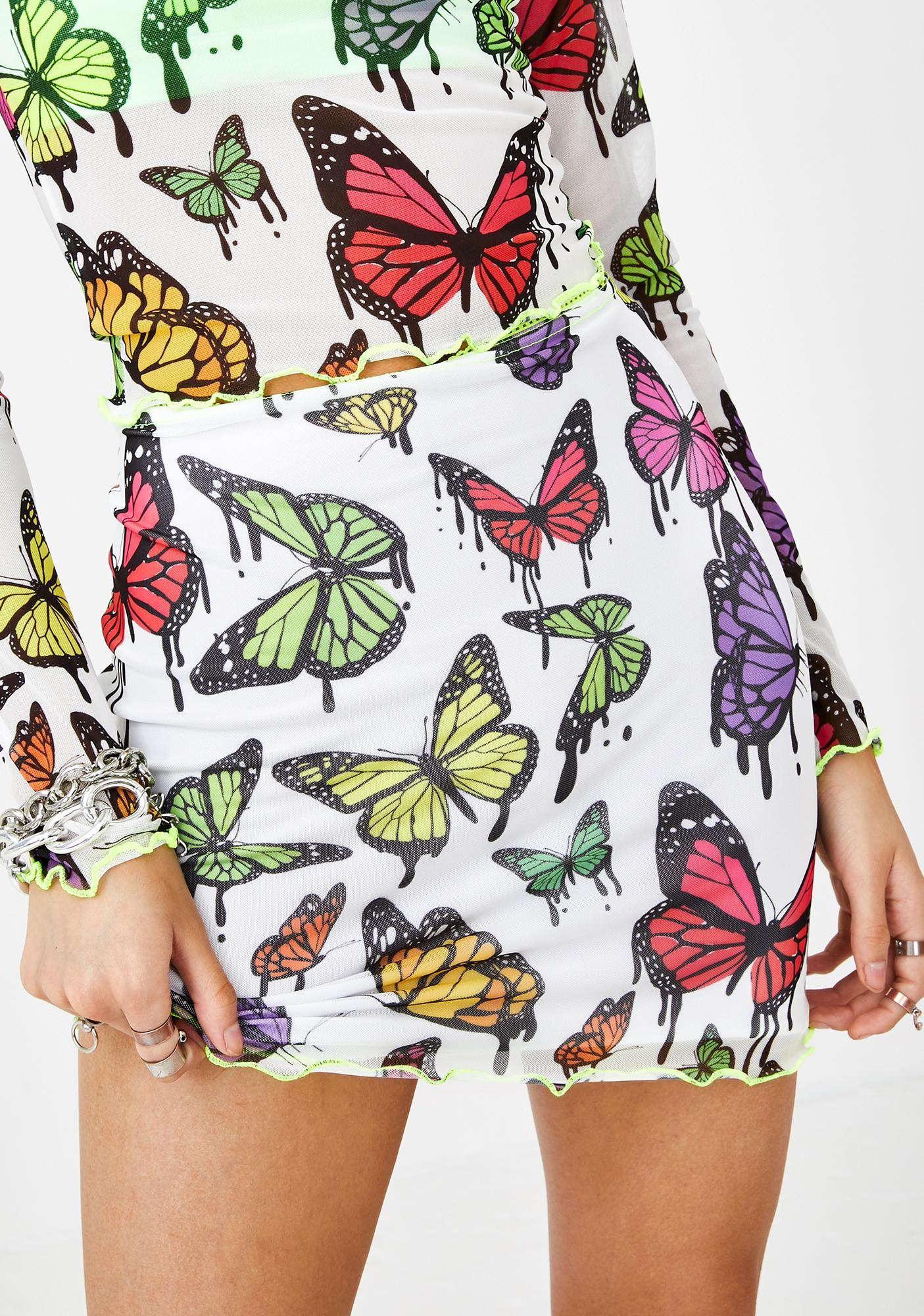 Jaded London White Mesh Butterfly Print Mini Skirt