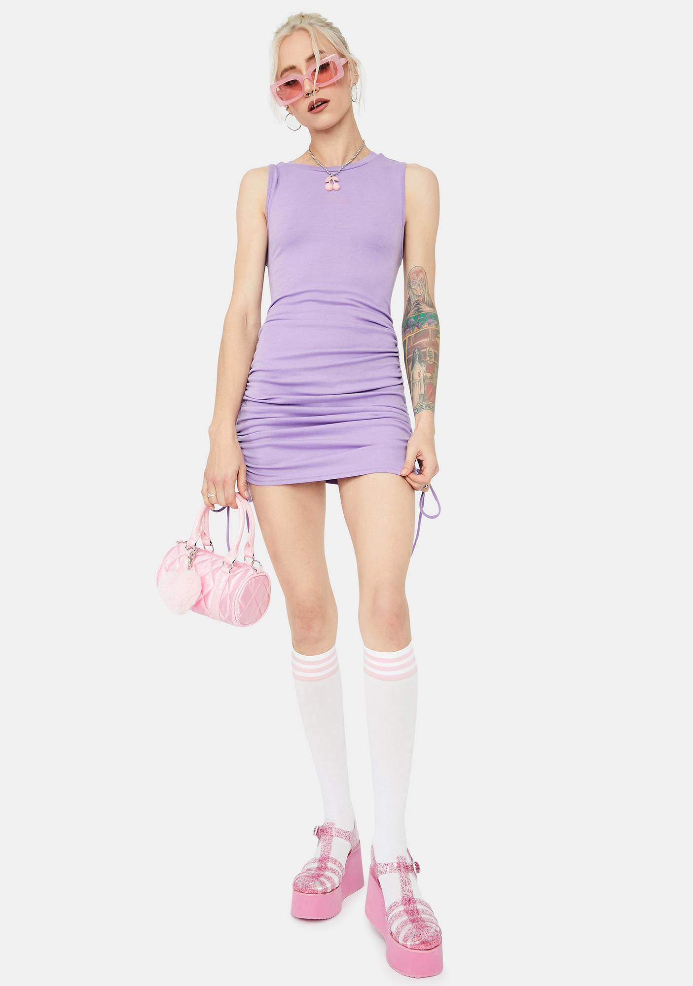 Lavender Text Me Back Ruched Tank Dress