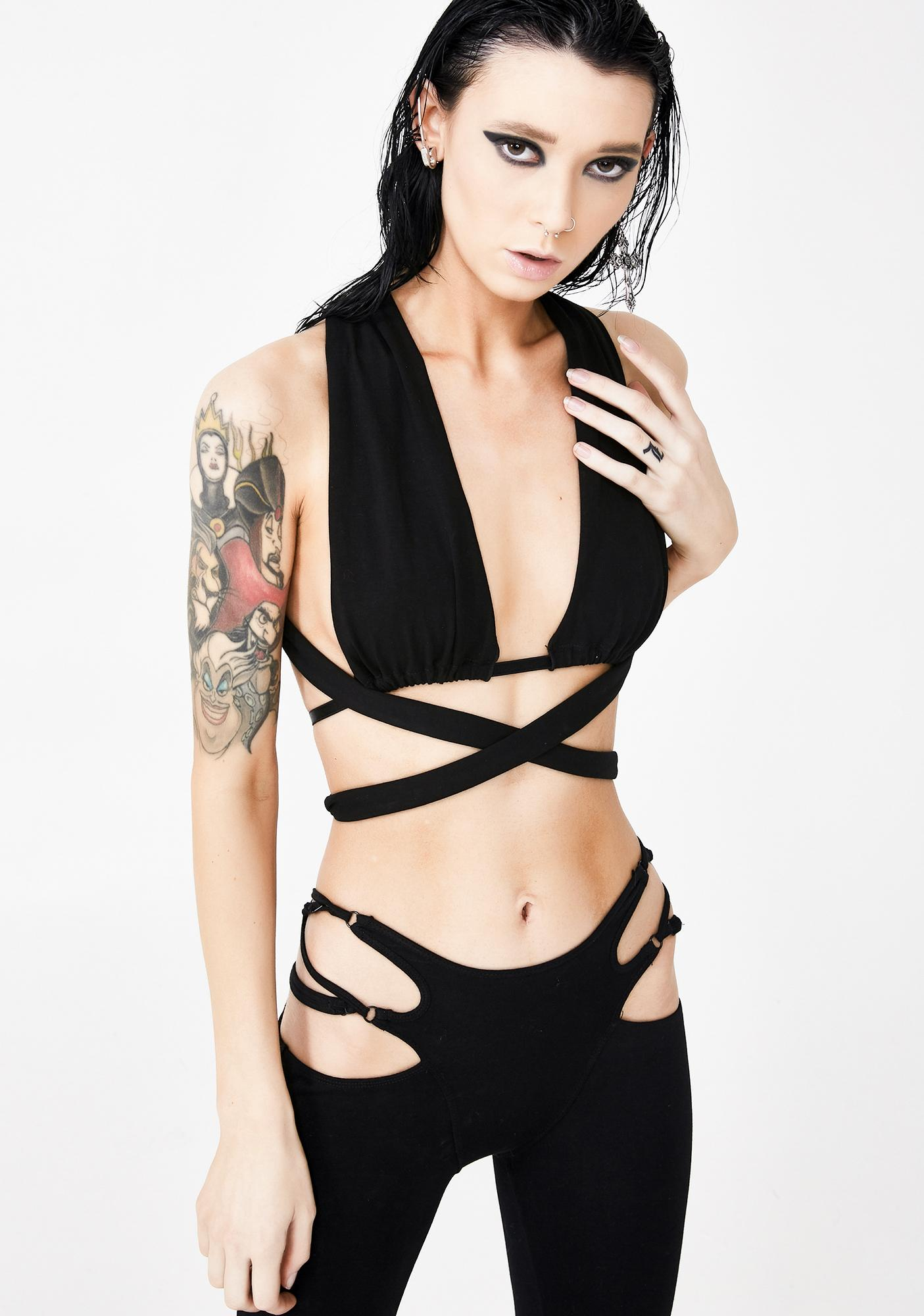 Club Exx Dark Vendetta Wrap Bra Top