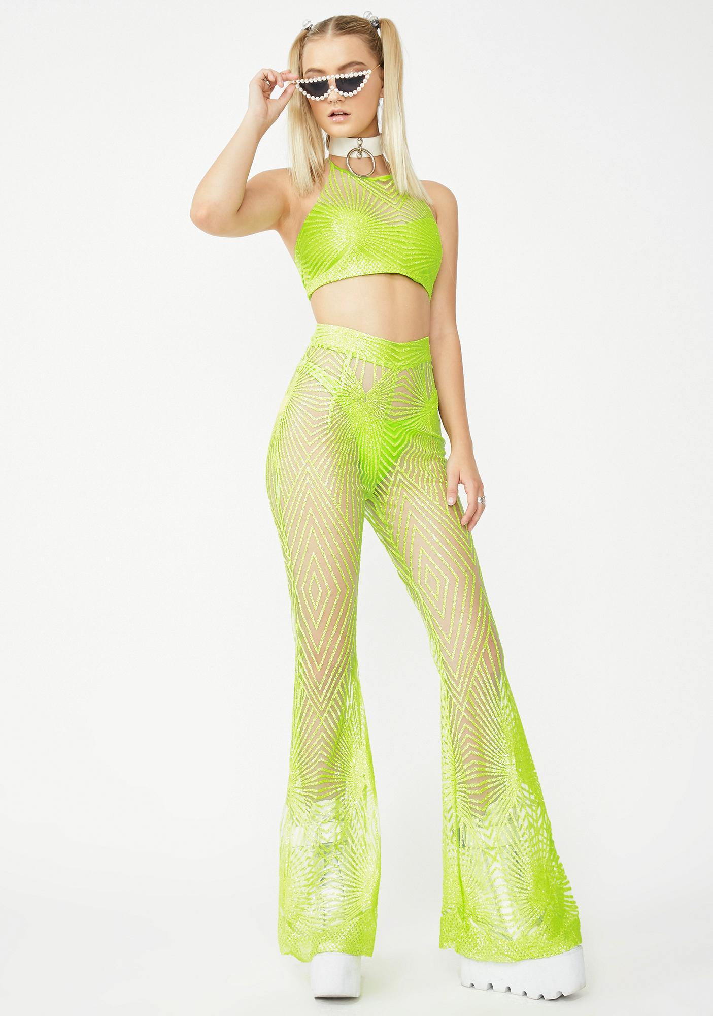 Elsie & Fred Memphis Lime Sheer Glitter Crop Top