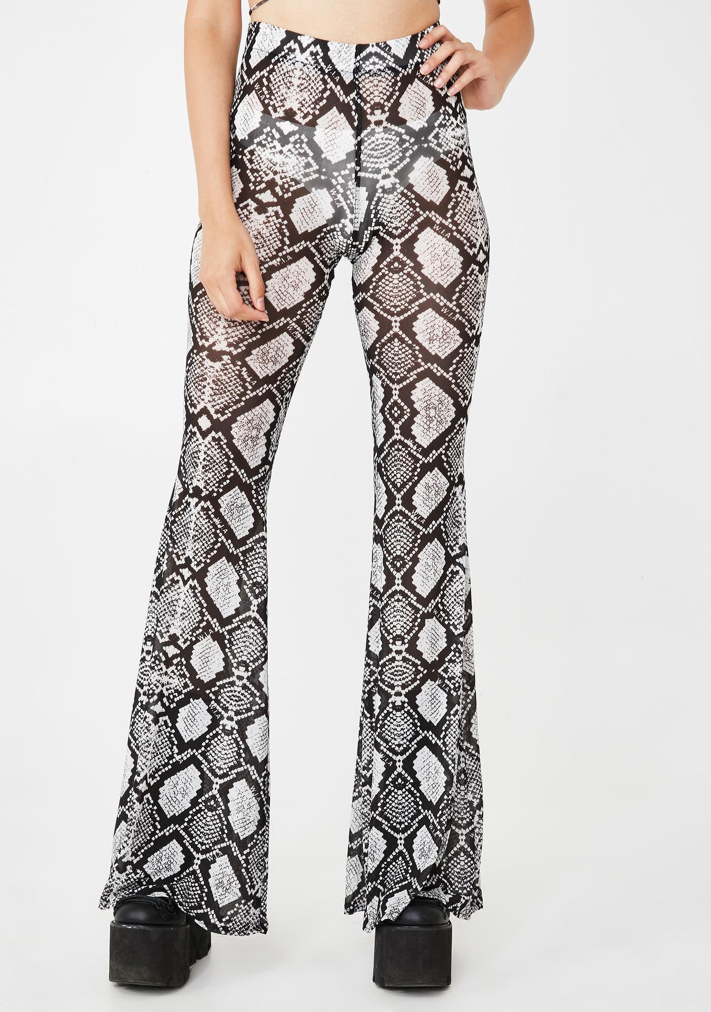 W.I.A Python Printed Sheer Bell Bottoms